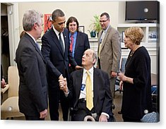 President Obama Greets James Brady Acrylic Print by Everett