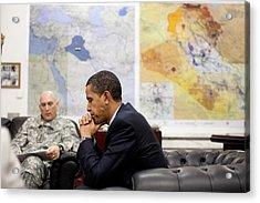 President Obama Meets With Gen. Raymond Acrylic Print by Everett