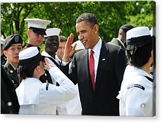 President Obama Salutes A Sailor Acrylic Print by Everett