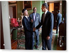 President Obama Talks With Commerce Acrylic Print by Everett