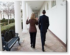 President Obama Walks With Hillary Acrylic Print by Everett
