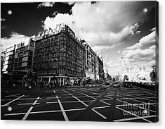 Princes Street And St David Street South With Tram Lines And Old Waverly Hotel Edinburgh Scotland Uk Acrylic Print by Joe Fox