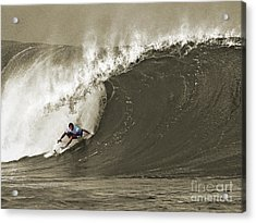 Pro Surfer Julian Wilson Surfing In The Pipeline Masters Contest Acrylic Print by Paul Topp