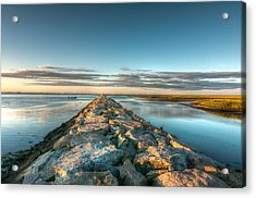 Province Town Jetty At Sunrise Acrylic Print by Linda Pulvermacher