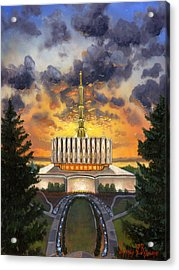Provo Temple Evening Acrylic Print by Jeff Brimley