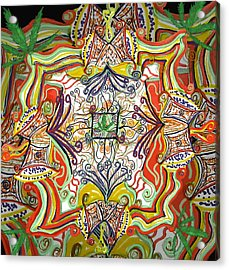 Psychedelic Art - The Jester's Cap Acrylic Print by Barbara Giordano