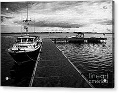 Public Jetty And Island Warrior Ferry On Rams Island In Lough Neagh Northern Ireland  Acrylic Print by Joe Fox