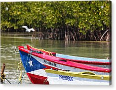 Puerto Rican Fishing Boats Acrylic Print by George Oze