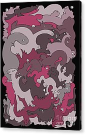 Purple Creatures Acrylic Print by Barbara Marcus