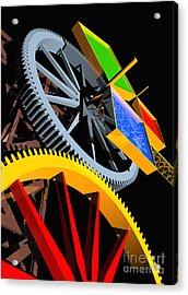 Pythagorean Machine Portrait 4 Acrylic Print by Russell Kightley