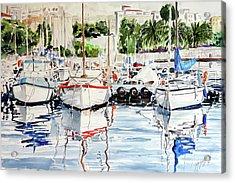 Quattro Barche Al Pennello Di Bonaria Acrylic Print by Giovanni Marco Sassu