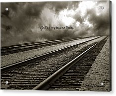 Railroad Tracks Storm Clouds Inspirational Message  Acrylic Print by Kathy Fornal
