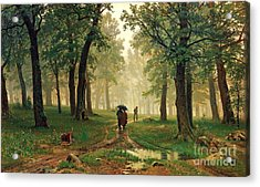 Rain In The Oak Forest Acrylic Print by Pg Reproductions