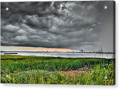 Rain Rolling In On The River Acrylic Print by Andrew Crispi