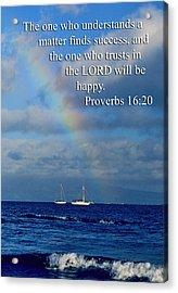 Rainbow Over Deep Blue Sea Pro. 16v20 Acrylic Print by Linda Phelps