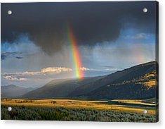 Rainbow Over Lamar Valley Acrylic Print by Yvonne Baur