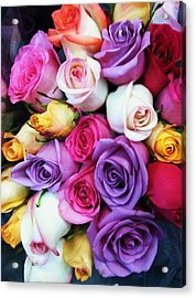 Rainbow Rose Bouquet Acrylic Print by Anna Villarreal Garbis