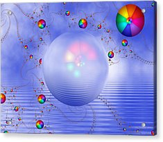 Rainbow Sphere On Blue Lake Acrylic Print by Pam Blackstone