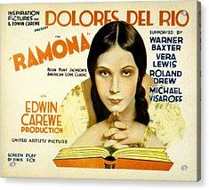 Ramona, Dolores Del Rio, 1928 Acrylic Print by Everett