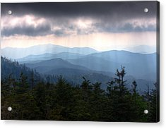 Rays Of Light Over The Great Smoky Mountains Acrylic Print by Pixel Perfect by Michael Moore