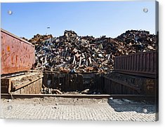 Recycle Dump Site Or Yard For Steel Acrylic Print by Corepics