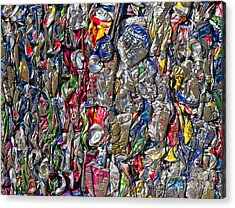 Recycled Aluminum Cans Acrylic Print by David Buffington