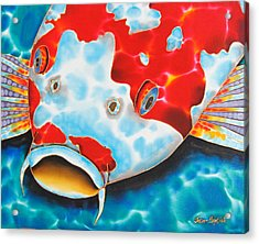 Red And White Koi     Acrylic Print by Daniel Jean-Baptiste