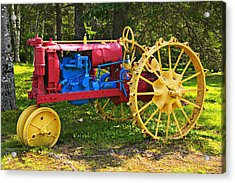 Red And Yellow Tractor Acrylic Print by Garry Gay