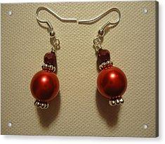 Red Ball Drop Earrings Acrylic Print by Jenna Green