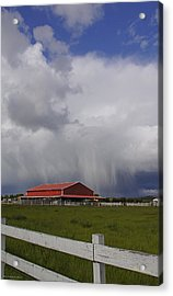Red Barn And Stormy Sky Acrylic Print by Mick Anderson