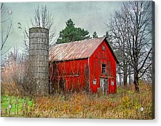 Red Barn Acrylic Print by Mary Timman