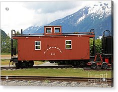 Red Caboose Acrylic Print by Sophie Vigneault