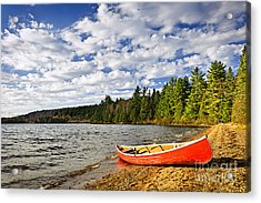 Red Canoe On Lake Shore Acrylic Print by Elena Elisseeva