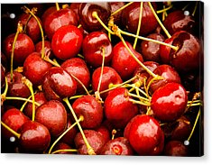Red Cherries Acrylic Print by Jen Morrison