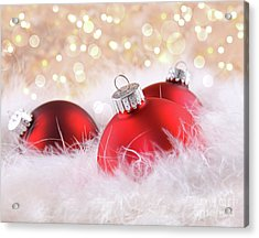 Red Christmas Balls With Abstract Background Acrylic Print by Sandra Cunningham