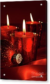 Red Christmas Balls With Bows On White Acrylic Print by Sandra Cunningham