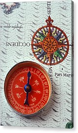 Red Compass And Rose Compass Acrylic Print by Garry Gay