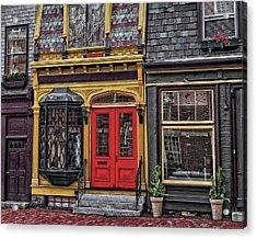 Red Door On Belvue Acrylic Print by Boyd Alexander