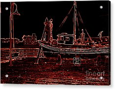 Red Electric Neon Boat On Sc Wharf Acrylic Print by Garnett  Jaeger