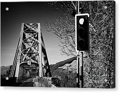 Red Light Traffic Control At The Single Track Connel Bridge On The A828 Coastal Route Road Over Loch Acrylic Print by Joe Fox