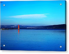 Red Lighthouse In Cayuga Lake New York Acrylic Print by Paul Ge