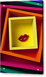 Red Lips In Yellow Box Acrylic Print by Garry Gay