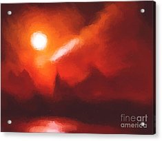 Red Mountains Acrylic Print by Pixel Chimp