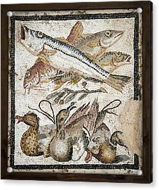 Red Mullets And Ducks, Roman Mosaic Acrylic Print by Sheila Terry