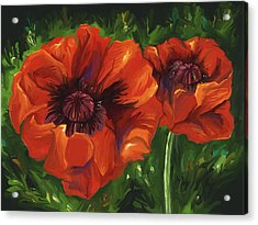 Red Poppies Acrylic Print by Aaron Rutten