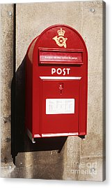 Red Postbox Mounted On Wall Acrylic Print by Jeremy Woodhouse