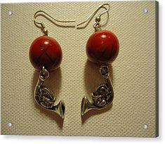 Red Rocker French Horn Earrings Acrylic Print by Jenna Green