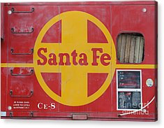 Red Sante Fe Caboose Train . 7d10333 Acrylic Print by Wingsdomain Art and Photography