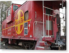 Red Sante Fe Caboose Train . 7d10334 Acrylic Print by Wingsdomain Art and Photography