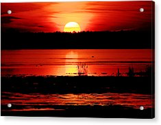 Red Sky Reflected Acrylic Print by DK Hawk